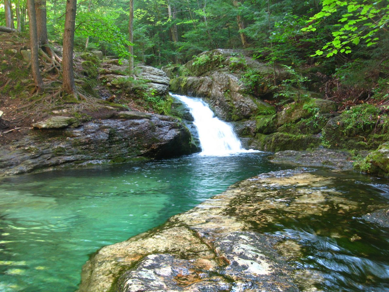 Rattlesnake Pool, this emerald pool near Bethel in Evan's Notch, is only accessible by hike.