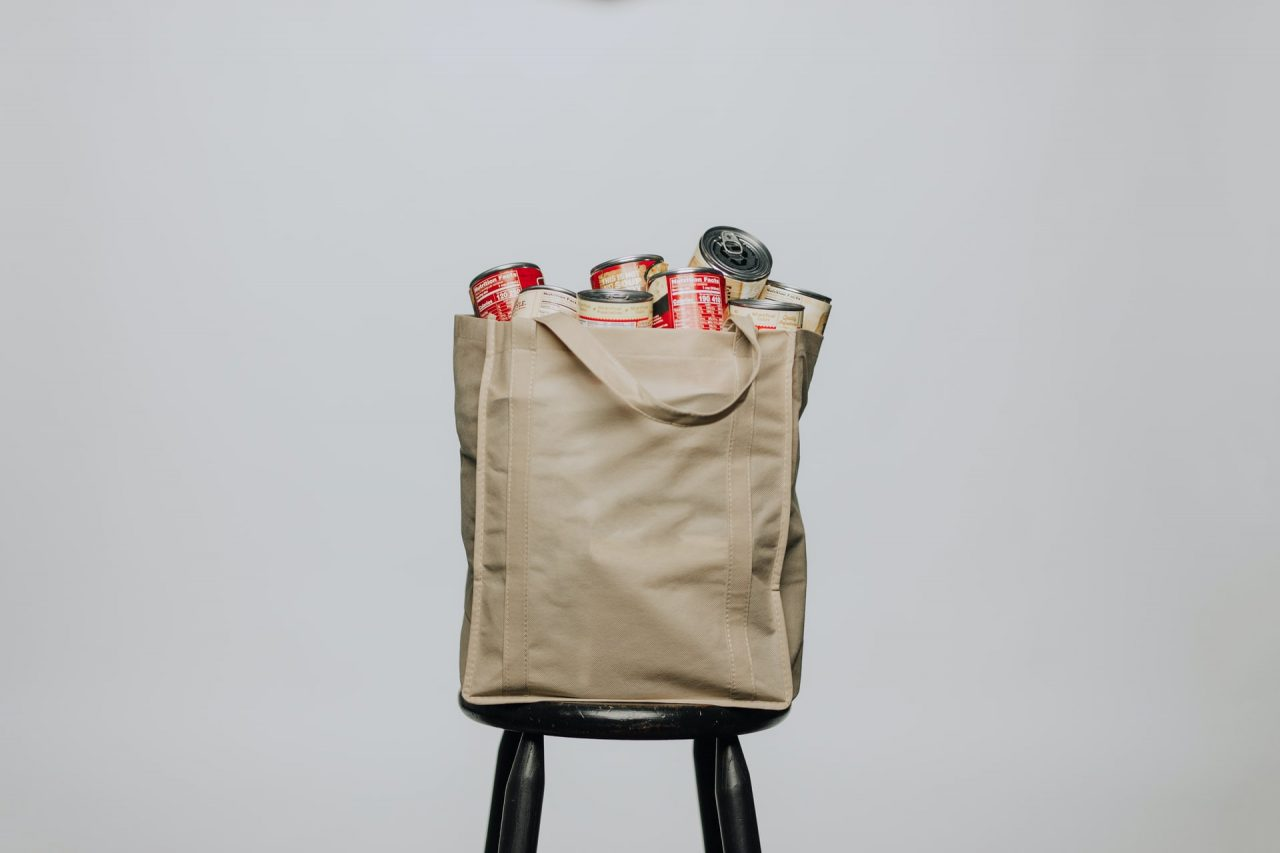 Grocery bag with canned goods